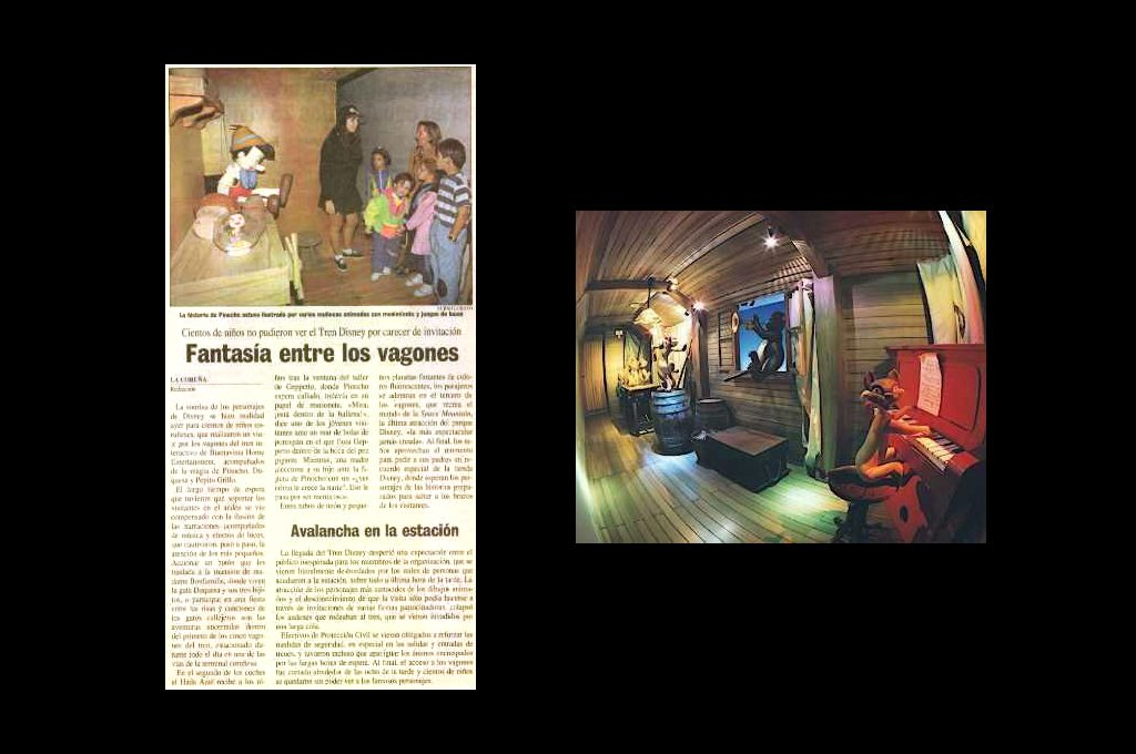 — Pinocchio and Aristocats, the interior of an interactive train for the presentation of Walt Disney video classics.