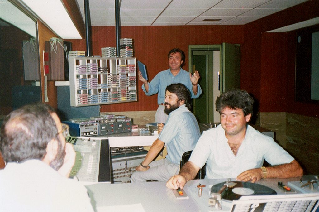 — At the studio control room. In the background: Jose Maria Pallardó.